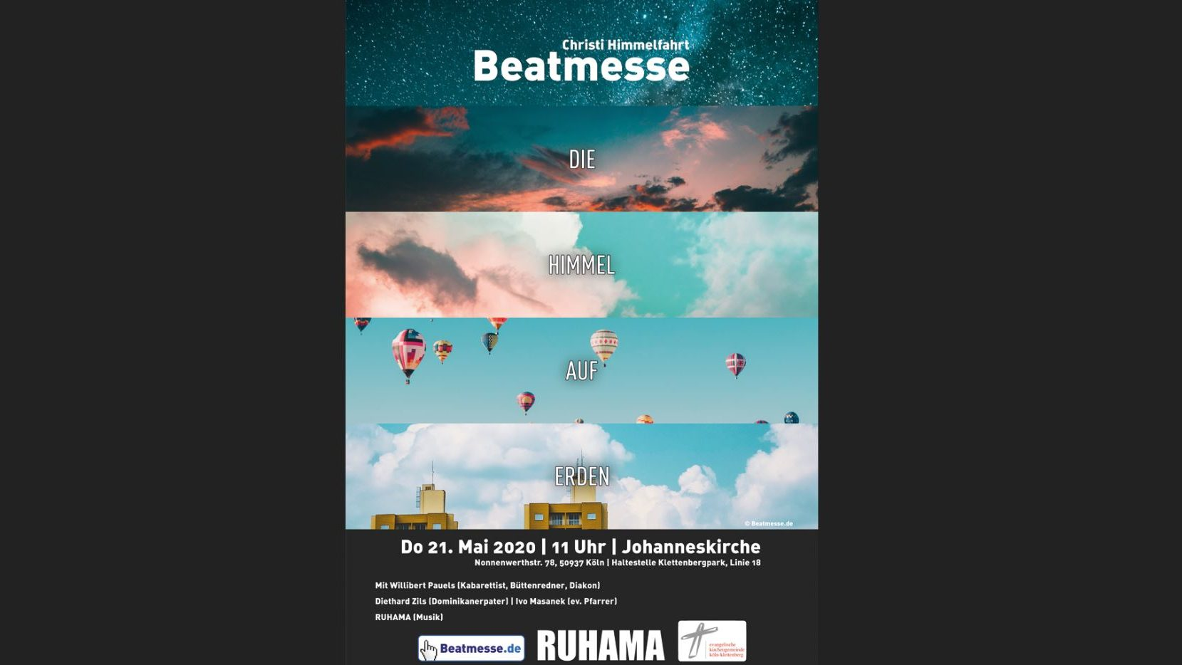 Ökumenische Beatmesse mit Willibert Pauels im Livestream sowie evangelische Gottesdienste an Christi Himmelfahrt online und vor Ort