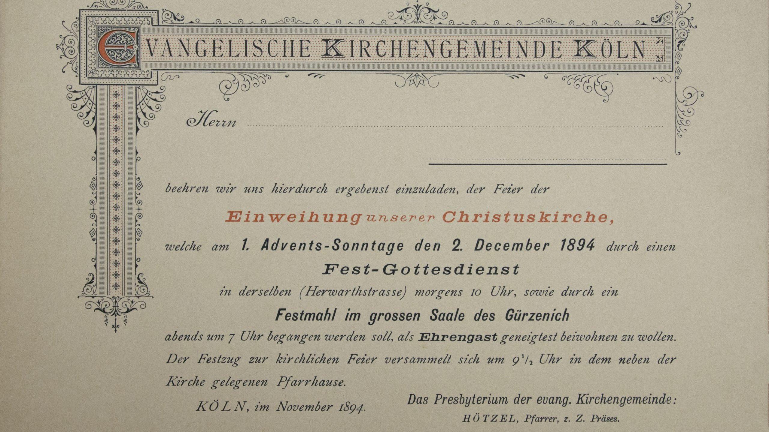 Christuskirche – Archivale Dezember
