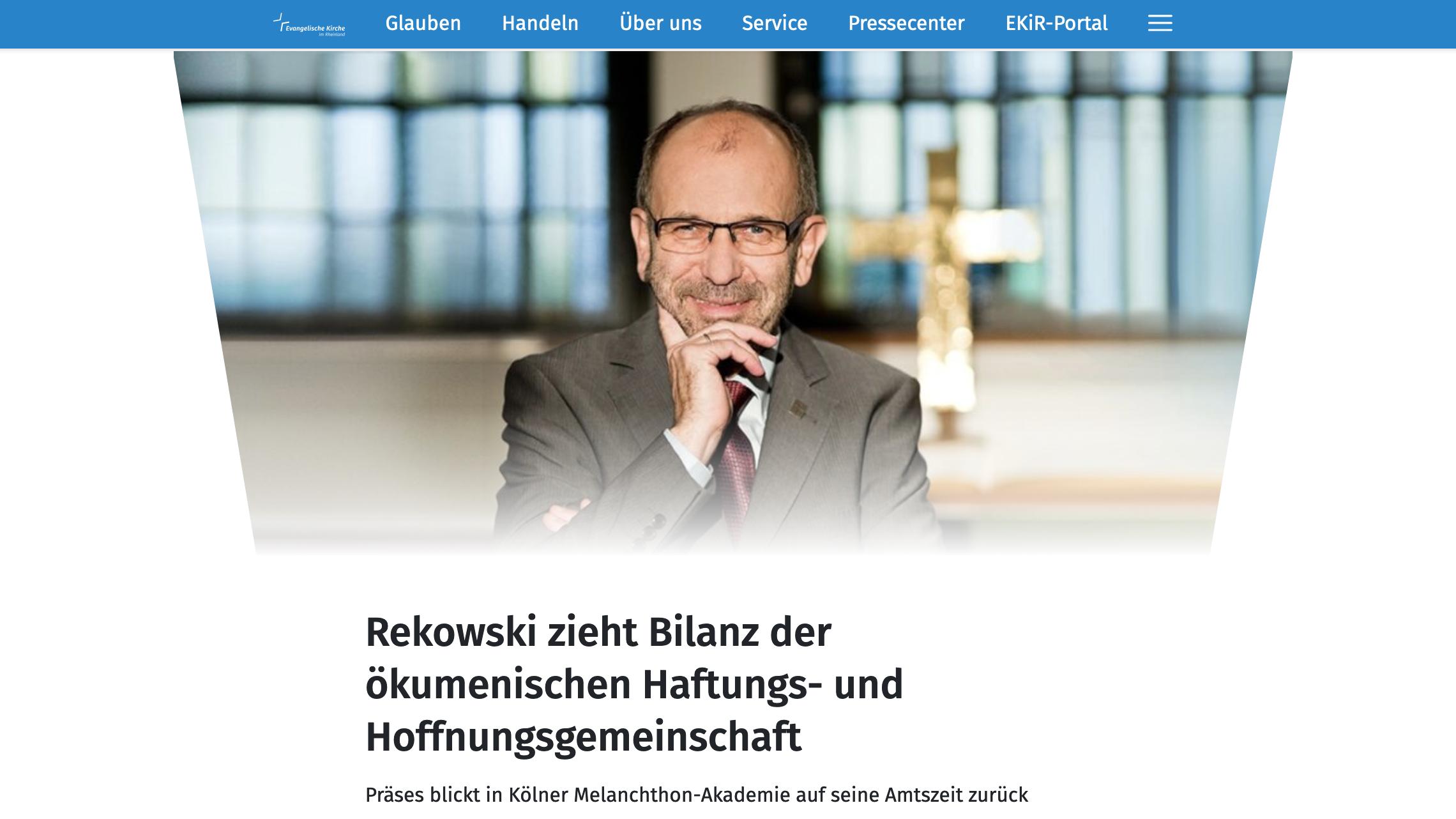 Rekowski zieht Bilanz der ökumenischen Haftungs- und Hoffnungsgemeinschaft am 10. März 2021